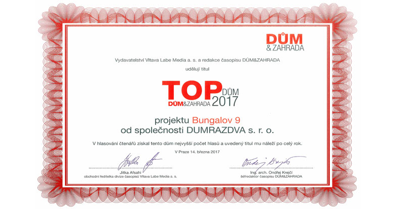 Vítěz ankety TOP DOMY 2017